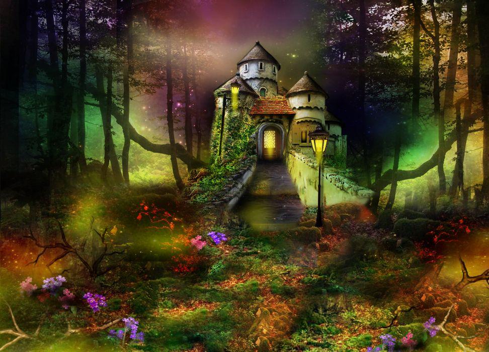 digital art 3d phantasmagoria castle trees forest wallpaper