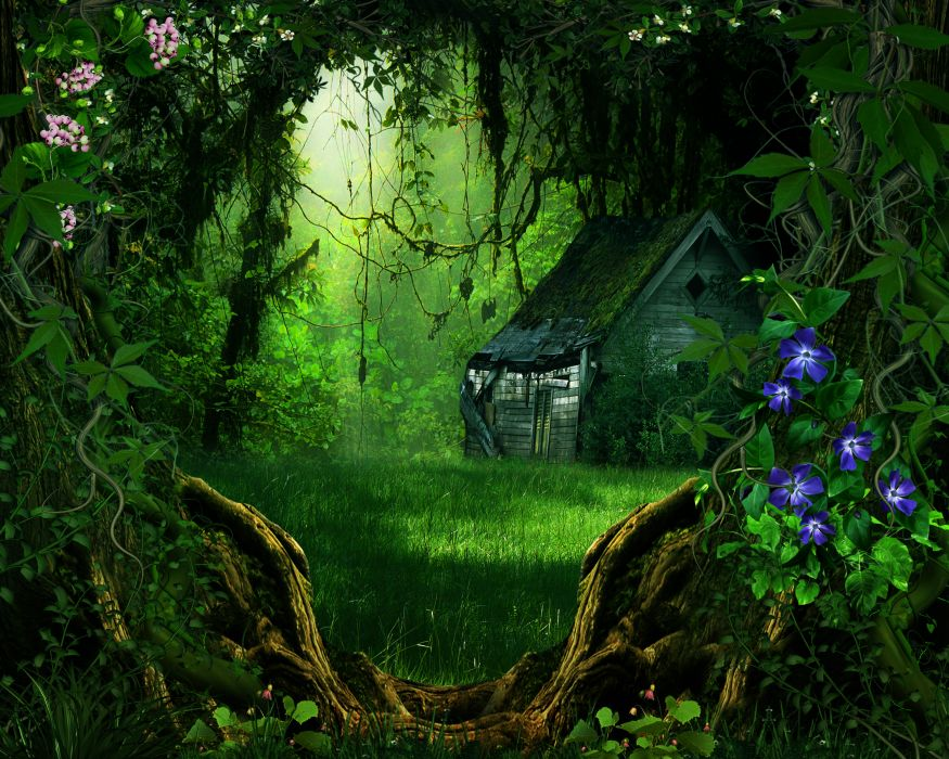 digital art 3d phantasmagoria trees forest flowers building wallpaper