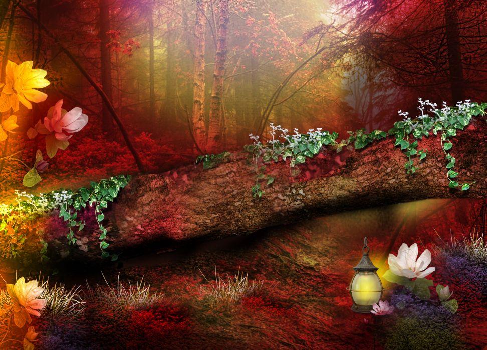 digital art 3d phantasmagoria trees forest wallpaper