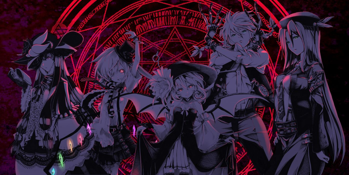 dress group handcuffs hat hong meiling i-la izayoi sakuya knife long hair maid red eyes remilia scarlet short hair touhou vampire weapon wings wallpaper