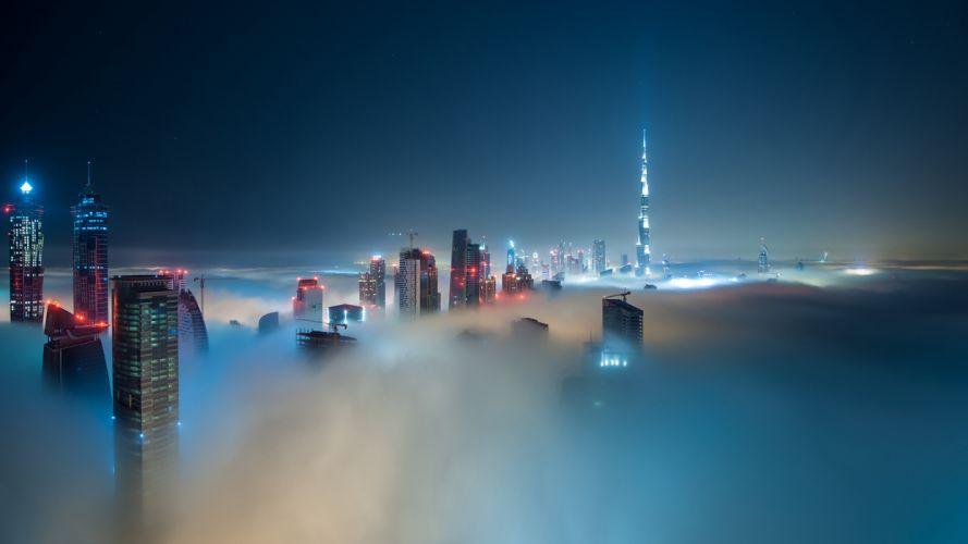 Dubai Burj Dubai Buildings Skyscrapers Night Mist Fog wallpaper