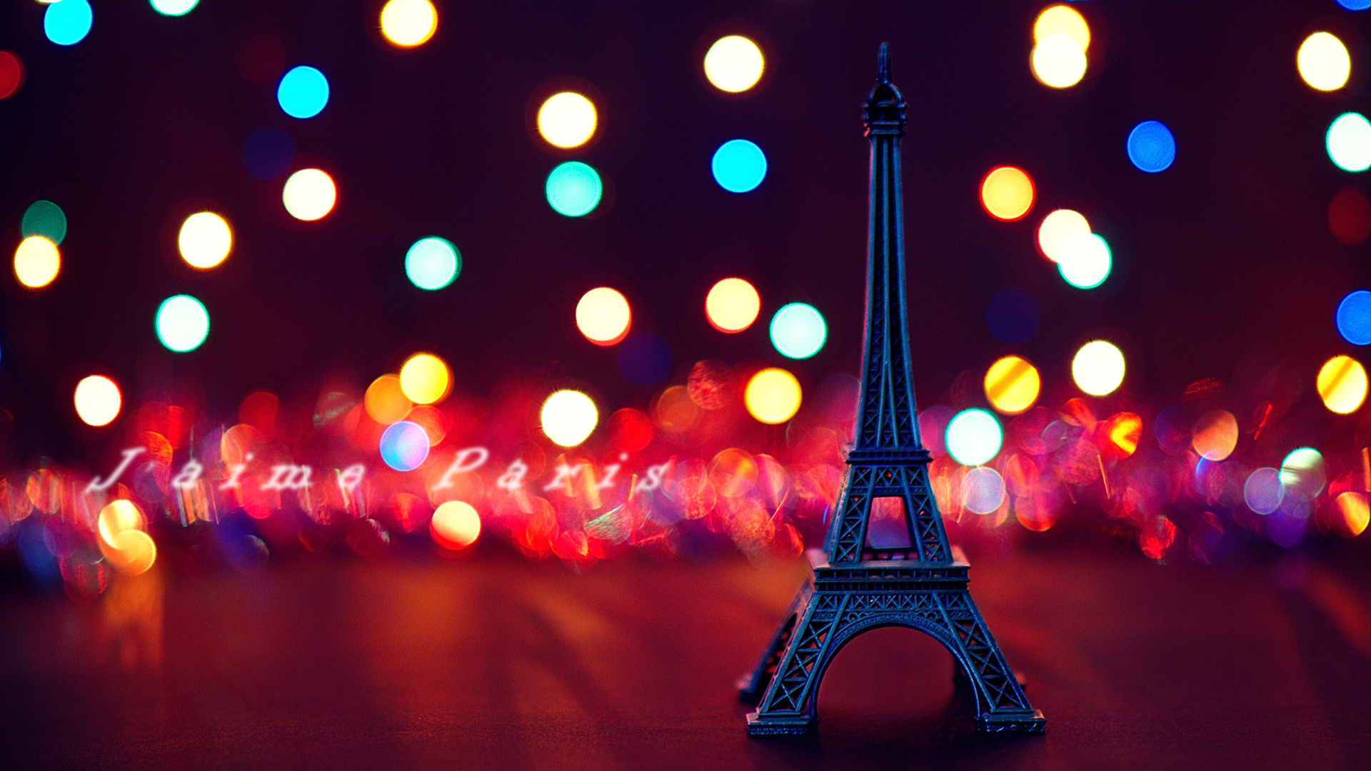 Eiffel Tower Paris bokeh text wallpaper | 1920x1080