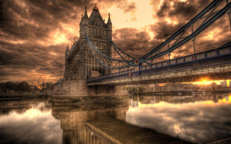 england bridge river hdr reflection wallpaper