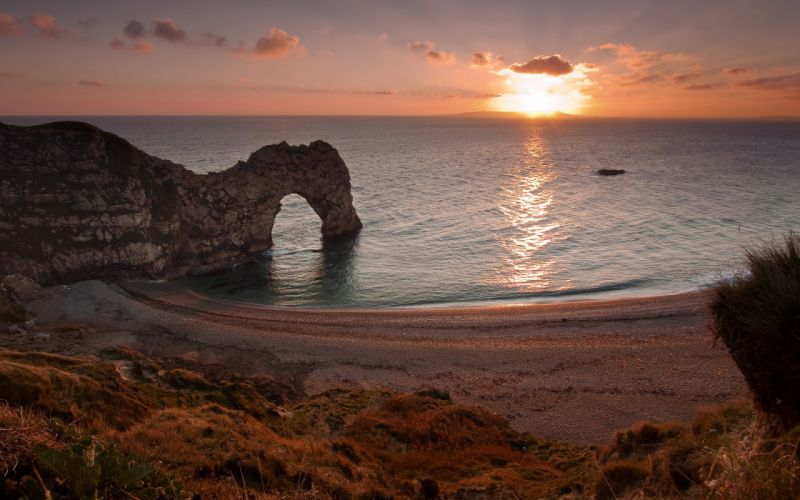 England West Lulworth sunset sea rocks landscape beaches wallpaper