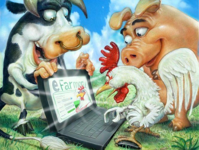 farm computer ox pig rooster wallpaper