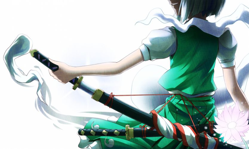flowers katana konpaku youmu puretails sword touhou weapon wallpaper