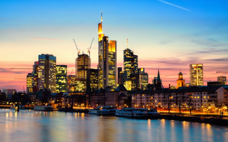 Frankfurt am Main Deutschland Germany Germany the city night sunset the river Main the lights skyscrapers houses skyscrapers wallpaper