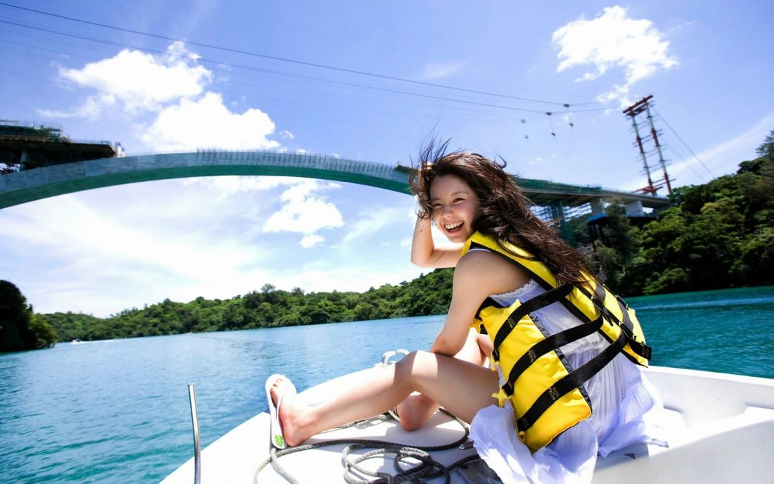 girl laugh smile river water forest trees bridge boat vest wind sky clouds wallpaper