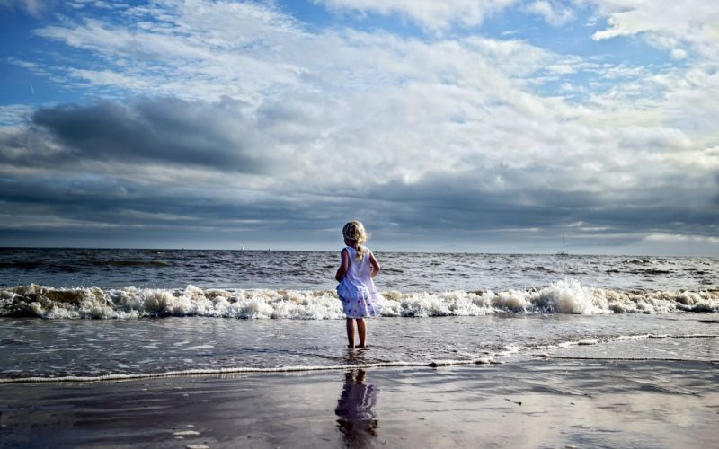 girl sea landscape mood wallpaper
