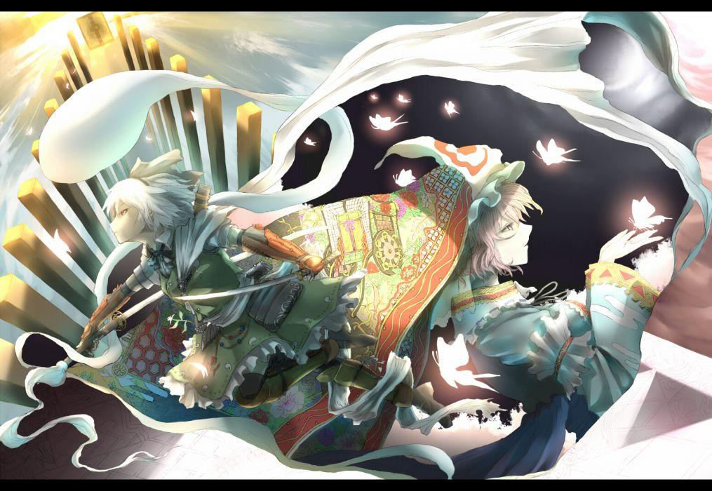 girls akihira fujinohara armor butterfly hat katana konpaku youmu pink hair saigyouji yuyuko sword touhou weapon wallpaper