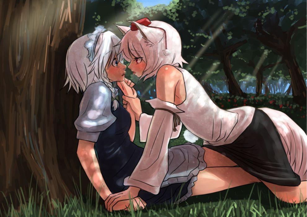 girls animal ears inubashiri momiji izayoi sakuya mibuki397 red eyes tears touhou tree yuri wallpaper