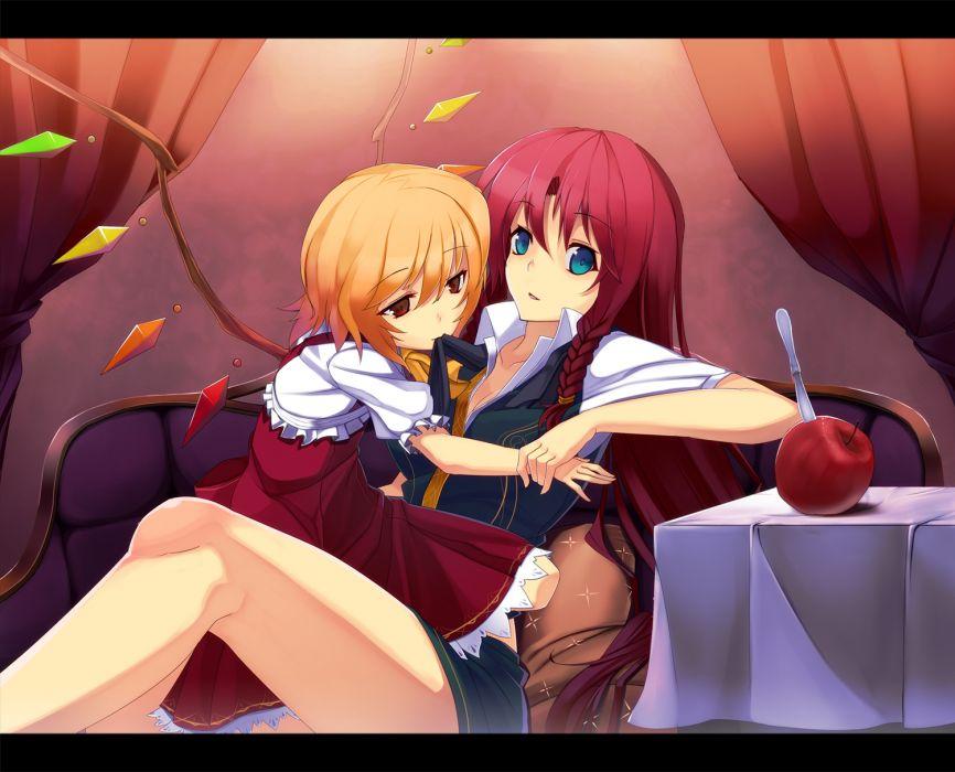 girls apple blonde hair cleavage flandre scarlet hong meiling minoinomi red eyes red hair touhou wings wallpaper