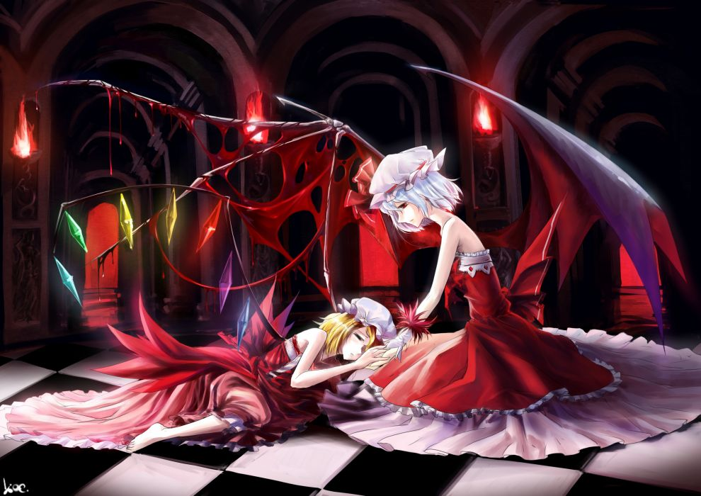 girls blonde hair blue hair dress flandre scarlet hat koenigsegg remilia scarlet touhou vampire wings wallpaper