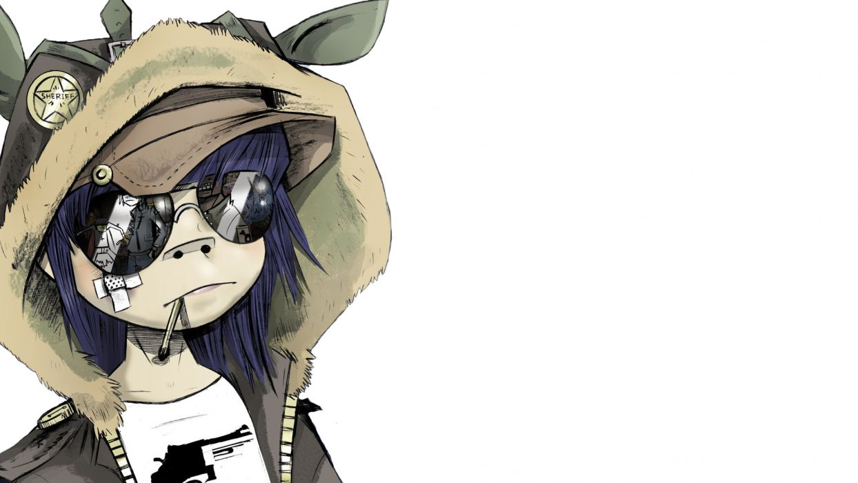 Gorillaz White Drawing Hoodie Sunglasses wallpaper