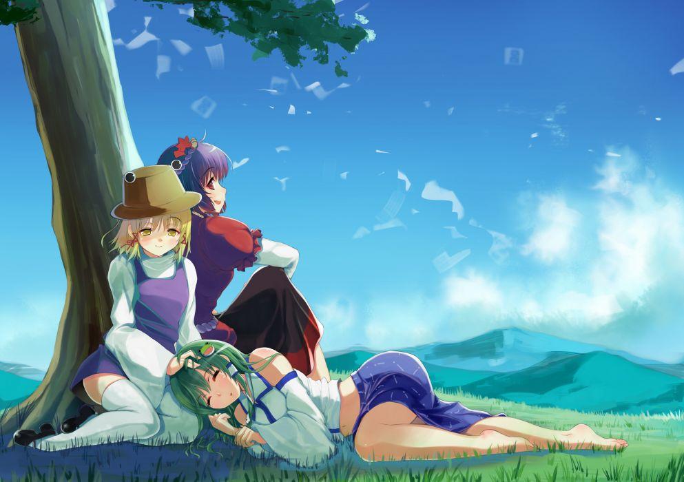 grass hareno chiame hat kochiya sanae moriya suwako sky thighhighs touhou yasaka kanako wallpaper