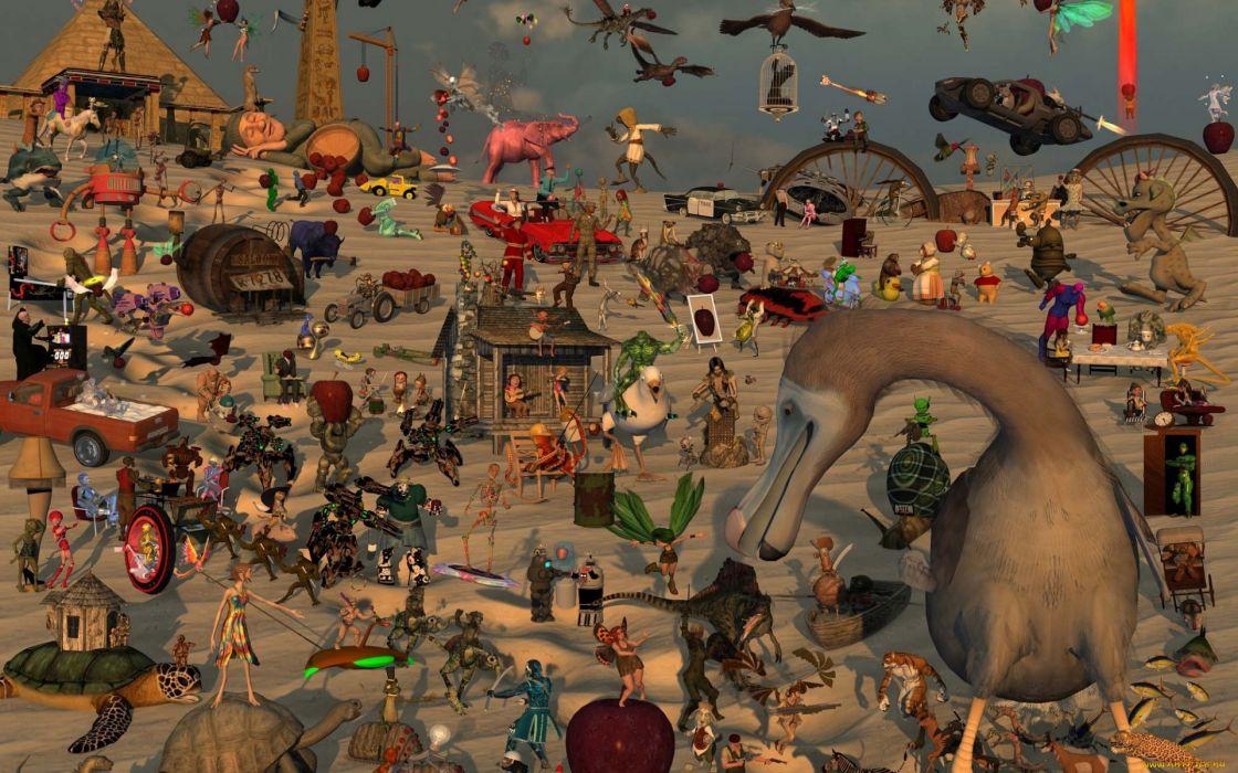 humor animals fantasy psychedelic wallpaper