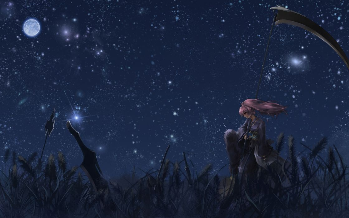 katana moon night onozuka komachi pink hair red eyes scythe sky sword tagme touhou weapon wallpaper
