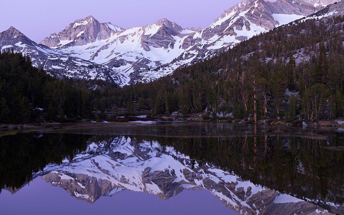landscape mountains lakes trees reflection wallpaper