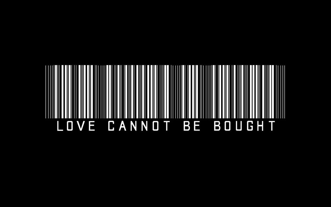 Love Bought BW Barcode Black wallpaper