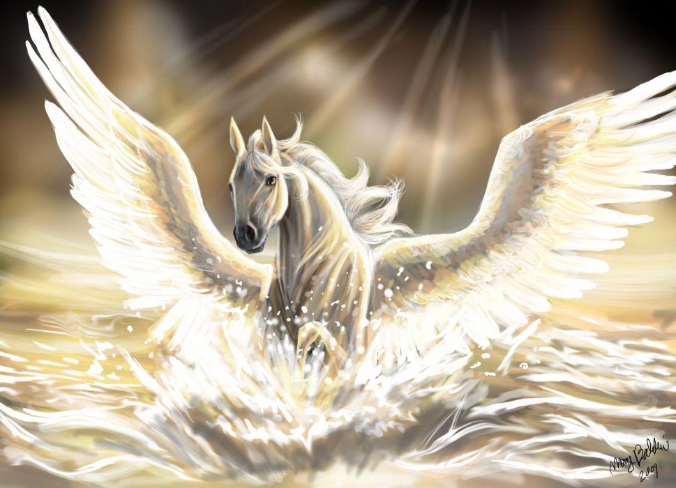 Magical animals Horses Wings Fantasy wallpaper