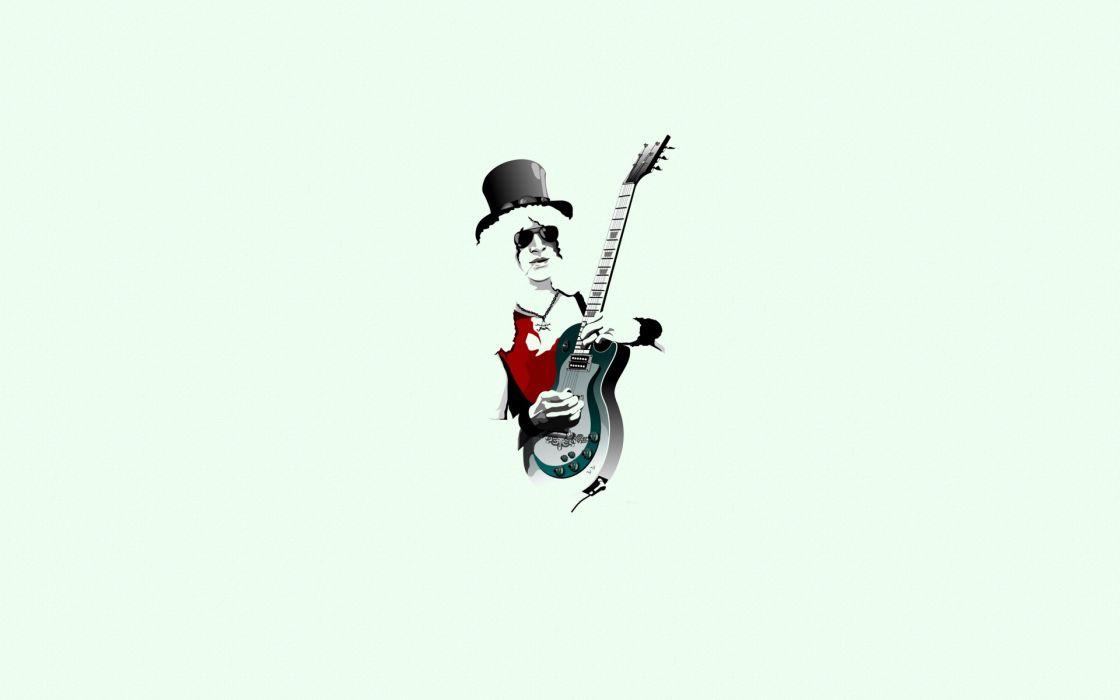 man guitarist guitar hat sunglasses chain minimalism slash guns roses wallpaper