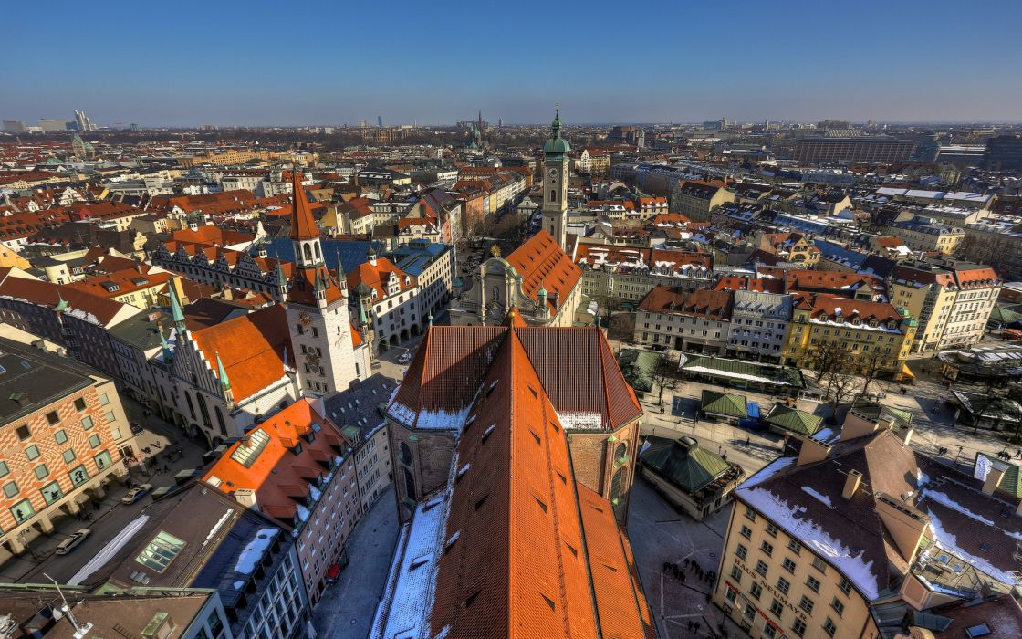Munich Germany building roof panorama wallpaper