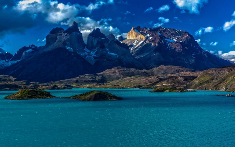 Nature Chile Patagonia Chile Patagonia mountains snow water islands sky clouds wallpaper