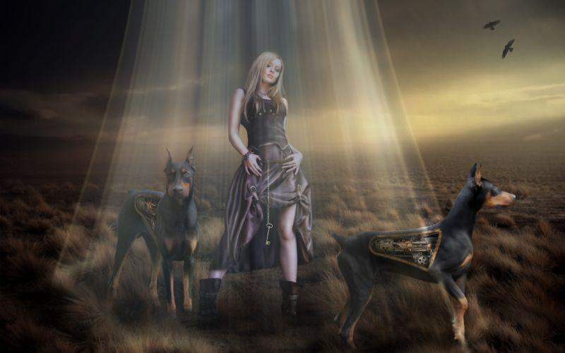 phantasmagoria 3d art girls robots dogs wallpaper