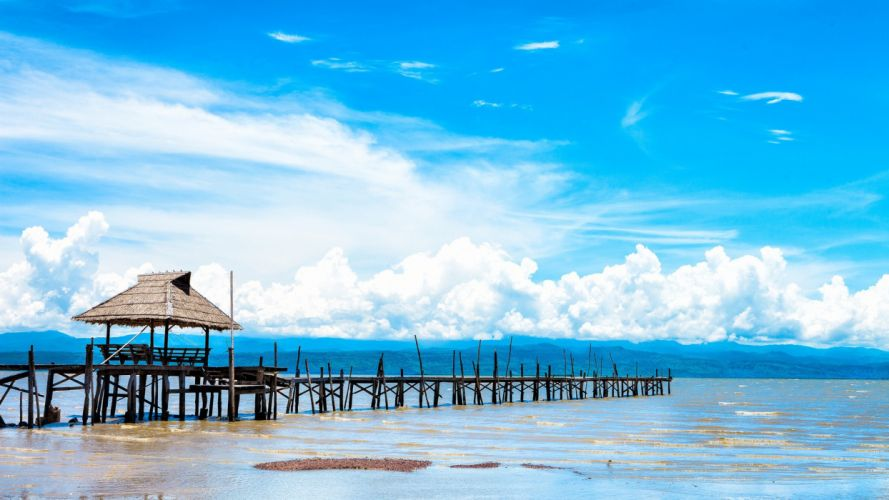 Pier Dock Tropical Beach wallpaper