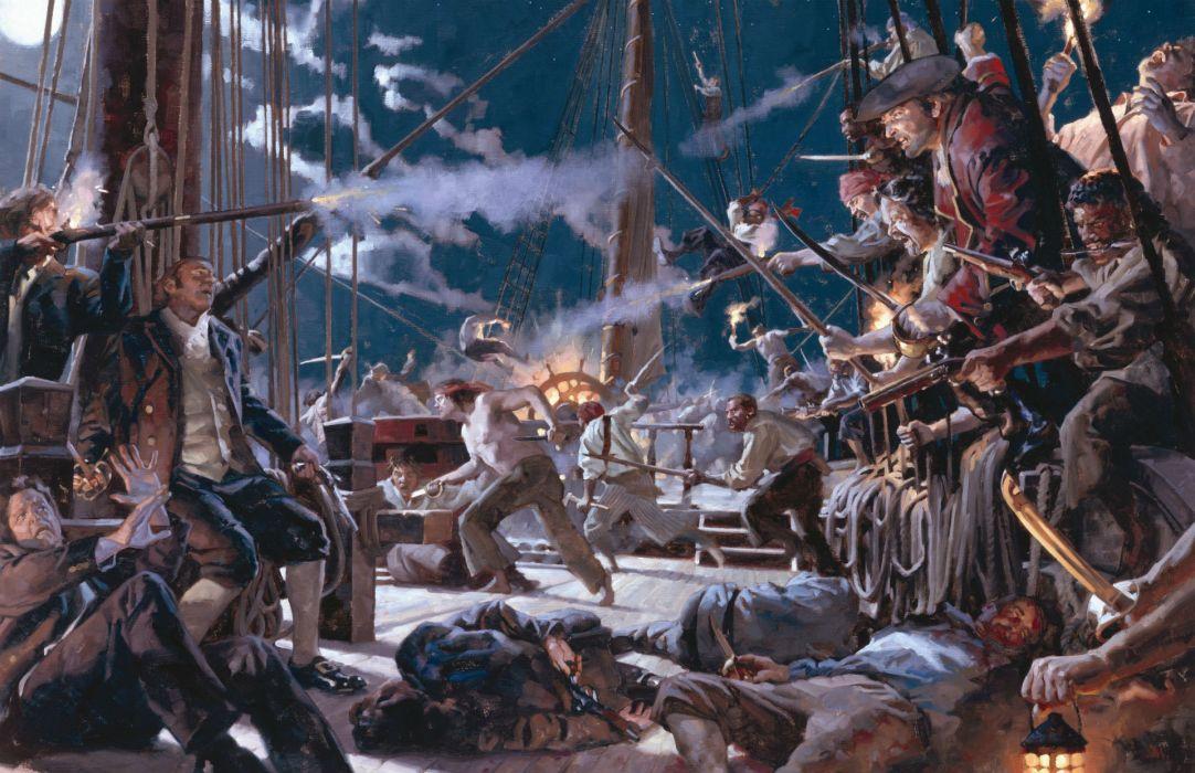 pirates ship boarded moonlight night smoke gunpowder swords corpses shot death wallpaper