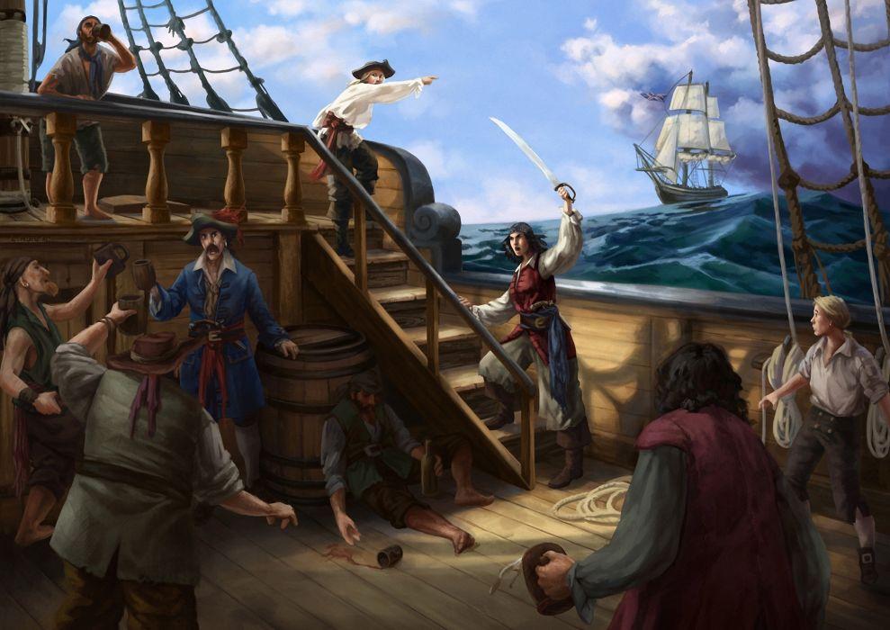 Pirates Ships Painting Art Fantasy wallpaper