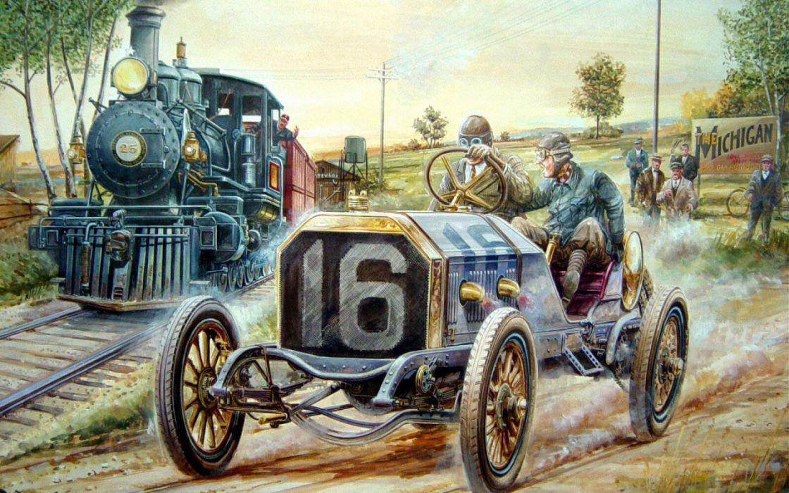 race porovoz train car retro people risk wallpaper