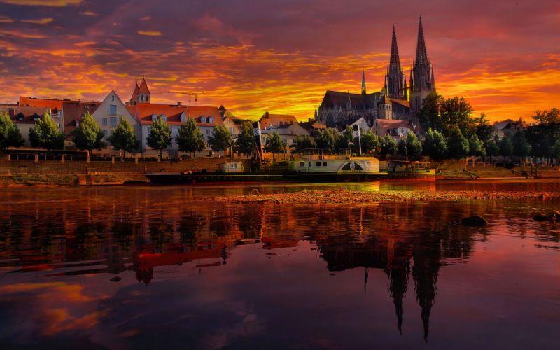 regensburg germany sunset cityscape sunset reflection river wallpaper
