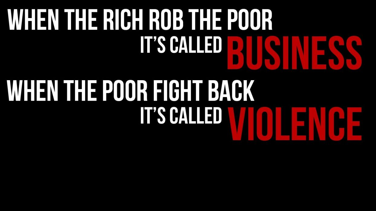 Rich Business Poor Violence Black Text Dark Anarchy Wallpaper