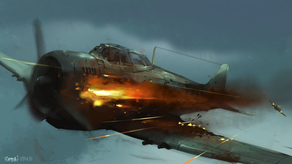 Airplane Plane Wwii World War Drawing Battle Military Wallpaper