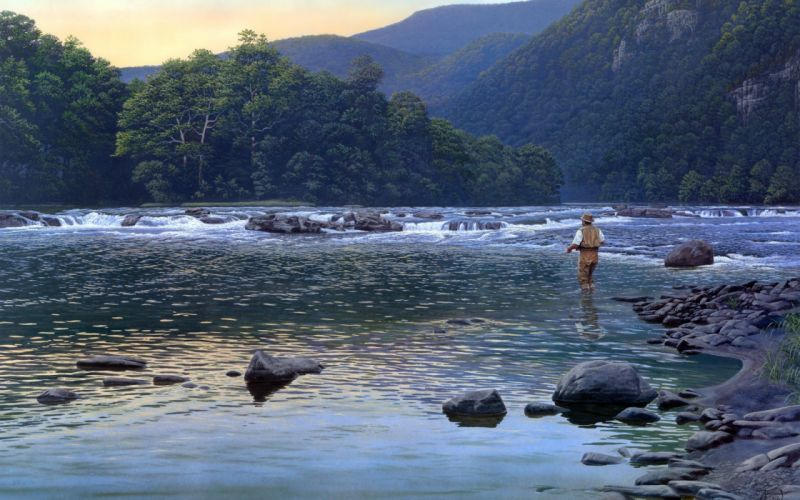 Al Agnew Almost Heaven painting nature mountain river mountains fishing sports mood men wallpaper