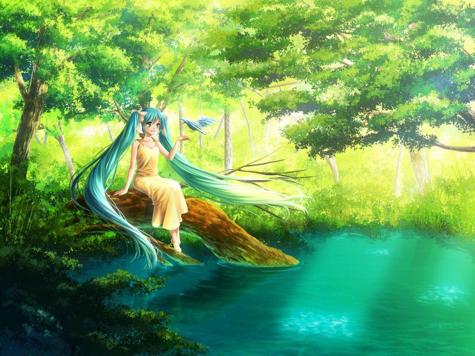 animal aqua eyes aqua hair bird hatsune miku jpeg artifacts long hair summer dress vocaloid water yuzuki kaoru wallpaper