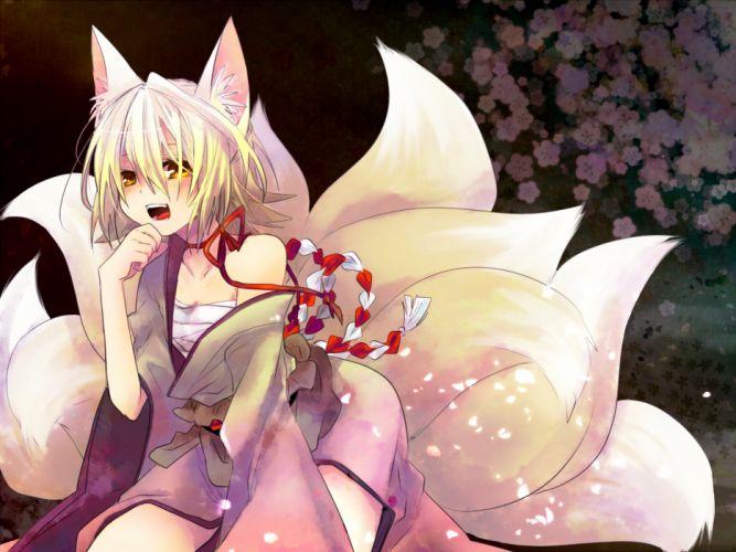 animal ears blonde hair foxgirl kagamine rin sarashi tagme (artist) tail vocaloid yellow eyes wallpaper