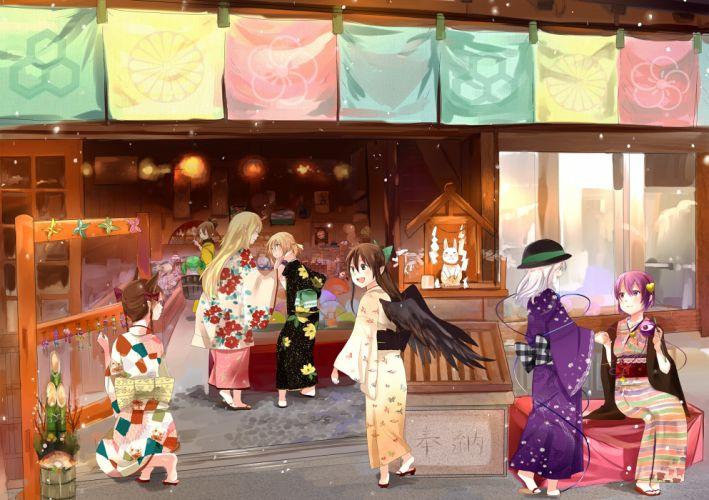 animal ears bow braids catgirl elf fan festival hat kaenbyou rin kimono kisume komeiji koishi komeiji satori reiuji utsuho touhou twintails wings wallpaper