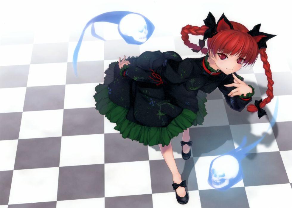 animal ears braids catgirl collar dress kaenbyou rin red eyes red hair ribbons rokuwata tomoe touhou wallpaper
