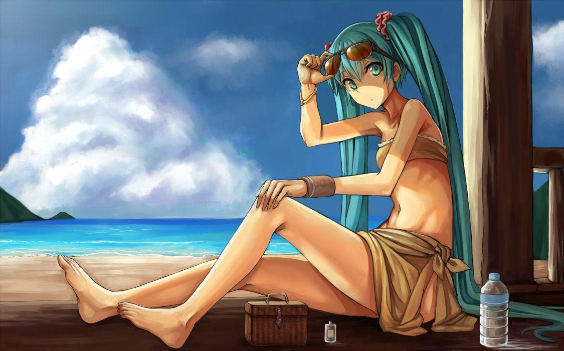 aqua eyes aqua hair beach hatsune miku long hair mokyu (kukoudesu) sunglasses twintails vocaloid wallpaper