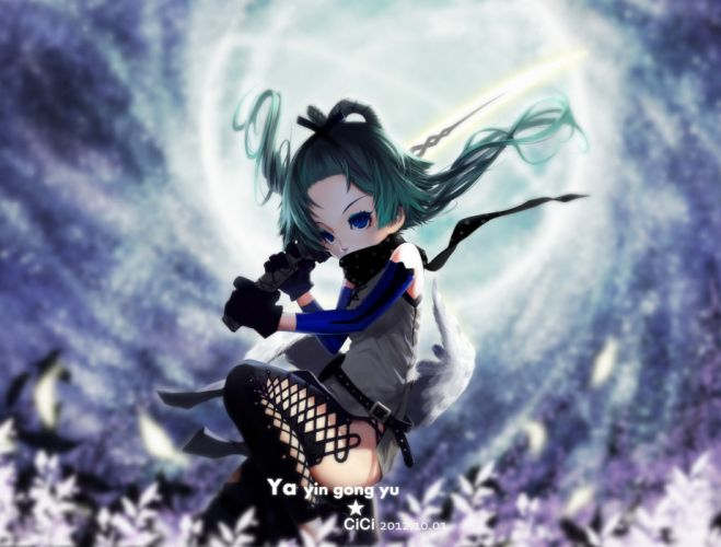 aqua hair blue eyes cici gloves luo tianyi scarf sword vocaloid weapon wings wallpaper