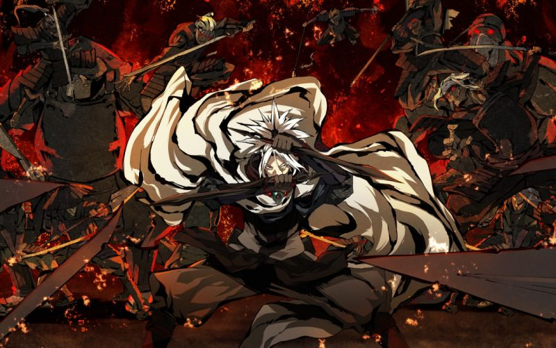 Art (G Yuusuke) kajiri kamui kagura kyougetsu keishirou battle war weapons ninjas swords wallpaper