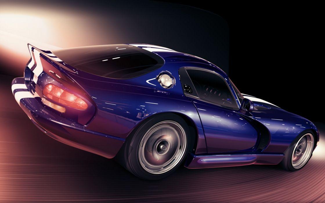 Art  car  Dodge  Viper GTS  speed  minimalism supercar wallpaper