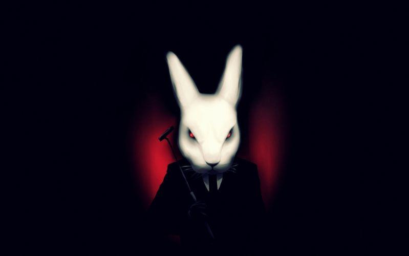 art misfits black background rabbit white suit vampire dark wallpaper