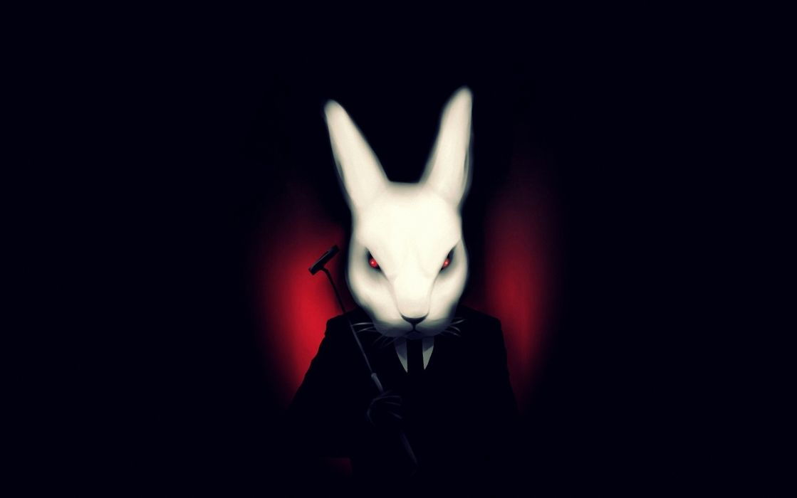 art misfits black background rabbit white suit vampire dark wallpaper