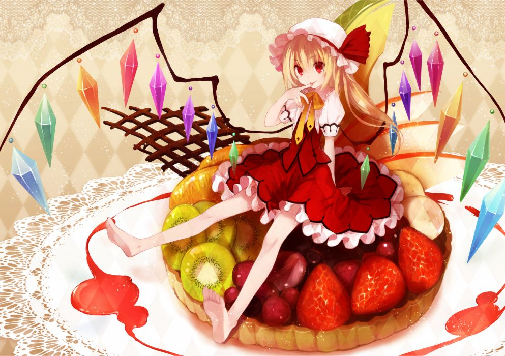 barefoot blonde hair dress flandre scarlet food koto (colorcube) red eyes touhou wings wallpaper