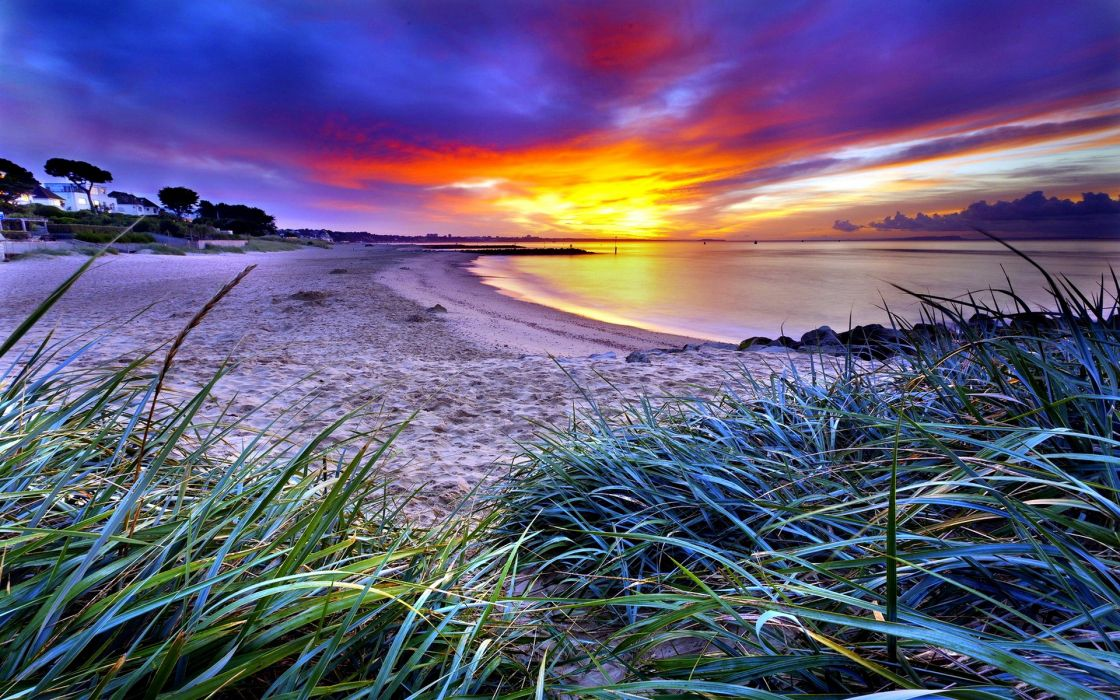 Beach sand coast beaches green grass horizon sky clouds dawn sunset wallpaper