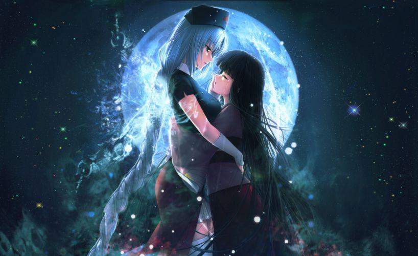 black hair blue hair houraisan kaguya long hair moon sayori sky stars tears touhou yagokoro eirin wallpaper