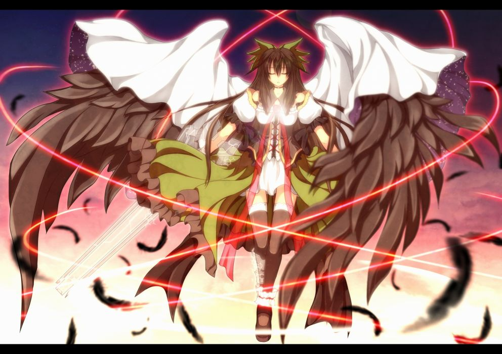 black hair feathers guriserin long hair reiuji utsuho sword thighhighs touhou weapon wings wallpaper
